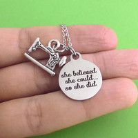 Sewing machine, She believed, she could.. so she did, Silver, Keychain, Bangle, Bracelet, Necklace, Birthday, Lovers, Friends, Sister, Gift