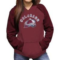 Original Retro Brand Colorado Avalanche Ladies Relaxed Pullover Hoodie - Burgundy