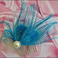 Bridal Something Blue Hair Comb Turquoise Peacock Feathers