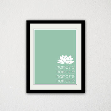 "Namaste. Lotus. Yoga Poster. Simple. Typography. Buddha. 8.5x11"" Print."