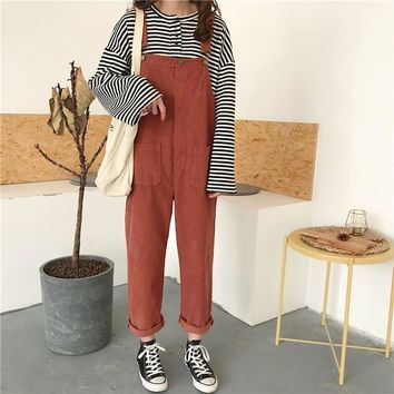 Spring Harajuku Fashion Women Casual Bib Harlan Pants Japanese Cute Corduroy Rompers Preppy Style Overalls Female Jumpsuits