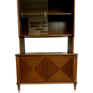 Walnut China Cabinet & Hutch by Young