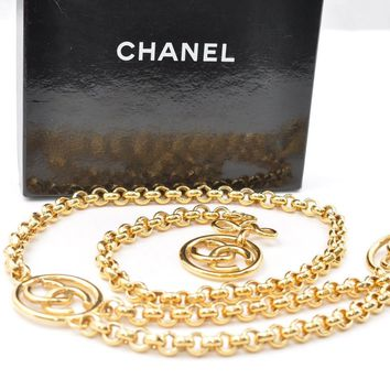 Authentic CHANEL Chain Belt CC Logo Gold Tone CC 49936