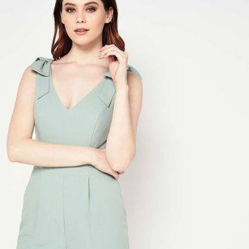 Green Strappy Bow Jumpsuit | Missselfridge