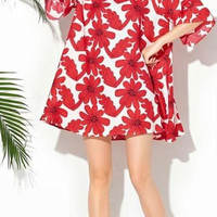 Red Floral Flounced Short Sleeve A-Line Dress