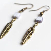 Christmas in July. Bohemian Feather Earrings. White Glass Tile Bead. Dagger Earring. Small Boho Style Earrings.