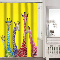 Giraffes shower curtains adorabel bathroom heppy shower curtains.