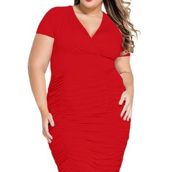 Chicloth Red Pleated Curvaceous Midi Dress