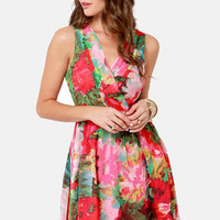 BB Dakota by Jack Cherry Floral Print Dress