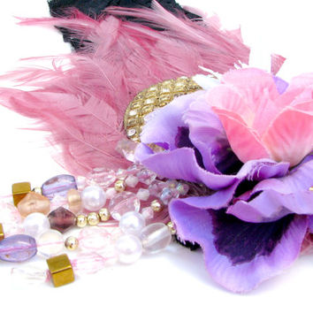 Flapper Girl Headdress - Pink & Purple Feathered Headband w/ Vintage Jewelry, Faux Flowers, and Beaded Fascinator