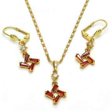 Gold Layered 10.283.0008 Necklace and Earring, with Garnet and White Cubic Zirconia, Polished Finish, Golden Tone