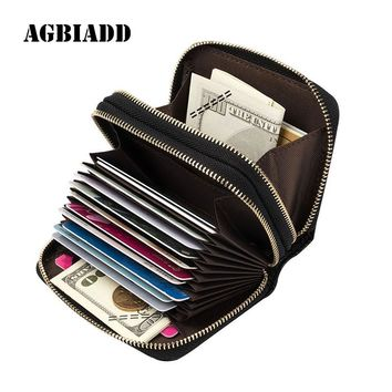 Men Women's Card Holder Genuine Leather Cute Double Zipper Card Wallet Small Purse for Men Card Purses 586