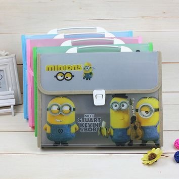Waterproof Book Minions A4 PVC Portable File Folder Bag Accordion Document Rectangle Office Home School multiplayer folder