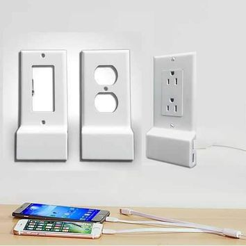 Invisible Dual USB Wall Charger Plate With Surge Protection