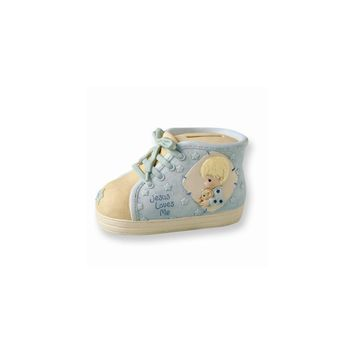 Precious Moments Blue Baby Shoe Bank