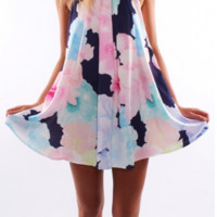 Floral Print Halter Neck Dress