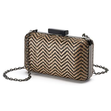 Lenore by La Regale Chevron Raffia Woven Minaudier Convertible Clutch (Black)