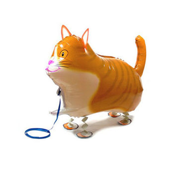 1pcs lot Walk Cat Foil Balloon for children children love Big Inflatable Print Walking Animal Mylar balloon for zoo theme party