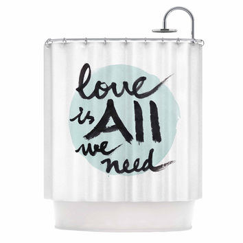"Qing Ji ""Love Is All We Need"" Teal Black Shower Curtain"