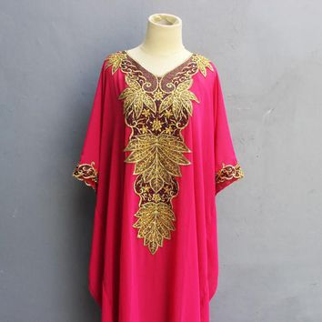 Gold Sequin Embroidery Pink Caftan Dress Great for Wedding Bridesmaid Party Summer Kaftan Maxi Dress