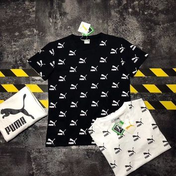 Puma Unisex Casual Vintage Personality Full Letter Logo Print Couple Short Sleeve T-shirt Top Tee