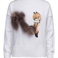 White High Neck Fluffy Squirrel Tail Knit Sweater