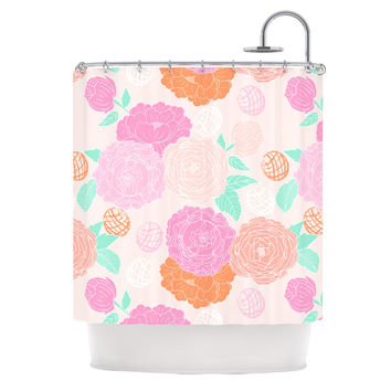 "Anneline Sophia ""Peonies Pink"" Peach Teal Shower Curtain"