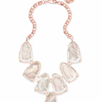 Kendra Scott: Harlow Rose Gold Statement Necklace In Suspended Ivory Pearl