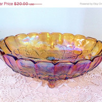 SALE - Large Footed Amber Indiana Carnival Glass Bowl. Harvest, Irredescent, Purple. Fruit. Kitchen Decor.