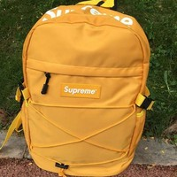 Supreme Canvas Backpack College High School Bag Travel Bag Yellow