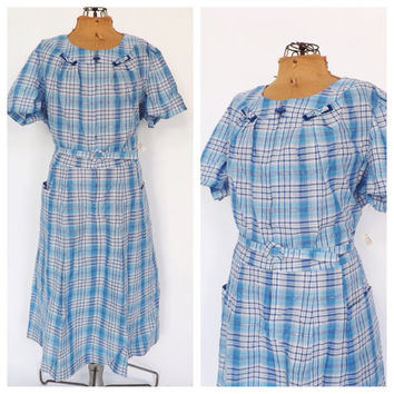 PLUS SIZE NOS Vintage 1950s Frock Dress Blue Checkered Cotton Sundress 1940s House Dress Country Folk Size Large Day Dress Plaid Shirt Dress