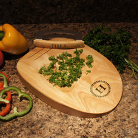 "Designer's Kitchen Herb Chopping Block with Built-In Double Bladed Knife and Family Monogram Design Options  (Each - 11.8"" x 8.5"" x 1.5"")"