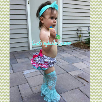 Aqua Hot Pink Gray Chevron Cake Smash Set - Summer Outfit - Baby Girl - First Birthday - Top knot - Chevron Bloomers - Lace Leg Warmers