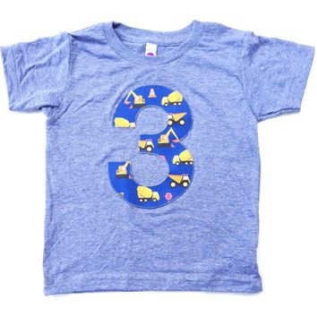 Blue yellow Construction truck 1 2 3 4 5 Birthday Shirt grey short sleeve blue yellow for 3 year old dumptrucks dump digger loader tractor f