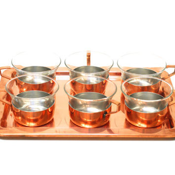 COPPER TEA SET, Culinox, Made in Switzerland by Spring, Jena Jenaer Glass, Swiss Kitchen Serving Ware, Tea Cups with Holders and Tray
