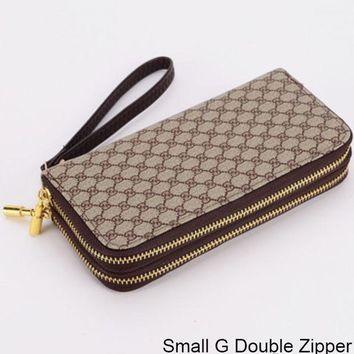 ac NOVQ2A GUCCI Double G Wallet Wallet Multi Card Mobile Phone Bag Small G Double Zipper