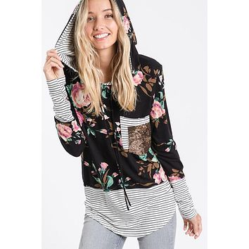 Black floral striped hooded long sleeve top with sequin pocket