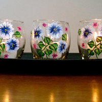 Flowered Candle Holders With Tray