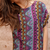 SOUTHWEST 90s bright SLOUCHY ikat style TRIBAL pattern short sleeve womens shirt