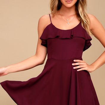 Lucy Love Celebration Burgundy Skater Dress
