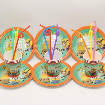 New style Minions Child birthday party supplies,Cute Cartoon paper disposable cups plates party drinking straws for kids