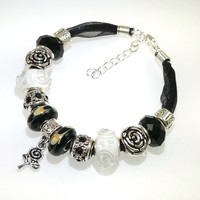European Charm Beaded Leather Friendship Bracelet - Flower
