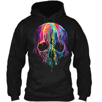 Colorful Melting Skull Art Graphic Halloween  Pullover Hoodie 8 oz
