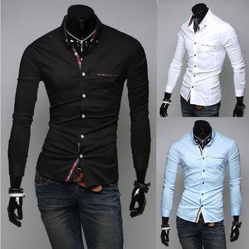 Men Elegant Casual Long Sleeve Shirt [6544490883]