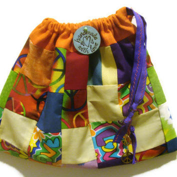 Peace, Love, Patchwork Drawstring Purse
