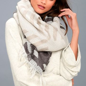 Branson Grey Striped Scarf