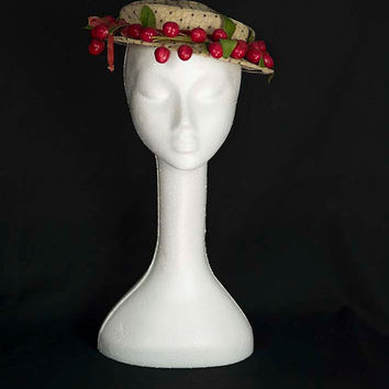 Vintage 1950's Cherries Tilt Hat with Black Net & Red Velvet Ribbon