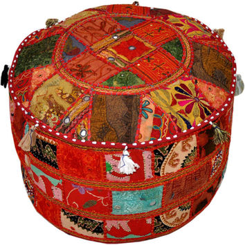 Bohemian Vintage Embroidered Pouf Patterned Cocktail Ottoman Footstool Cover indian round ottoman stool pouf pillow Vintage Hassock Pouffe