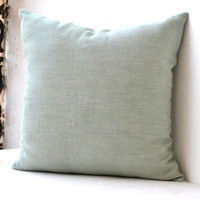 Pistachio green linen pillow  Green cushion cover Decorative throw pillow Couch cushion 18x18 pillowcase St Patrick's Day gift summer pillow