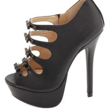 Bow-Topped Strappy Cut-Out Peep Toe Heels by Charlotte Russe